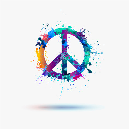 Illustration pour Vector peace symbol in watercolor splashes - image libre de droit