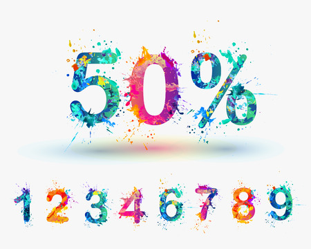 Illustration pour SALE Percents. Vector paint splash. You can set any discount from the collection of digits - image libre de droit