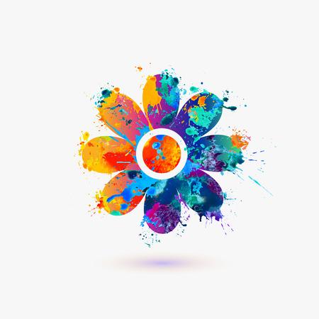 Ilustración de Flower icon. Rainbow splash - Imagen libre de derechos