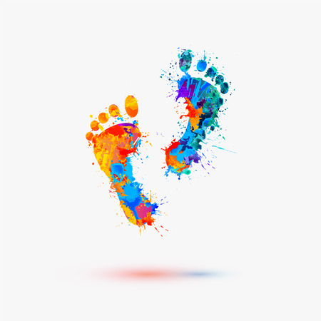 Illustration for Foot prints. Vector watercolor illustration - Royalty Free Image