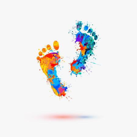 Ilustración de Foot prints. Vector watercolor illustration - Imagen libre de derechos