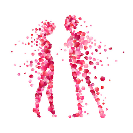 Photo for loving couple silhouettes of rose petals. Valentine's Day illustration - Royalty Free Image