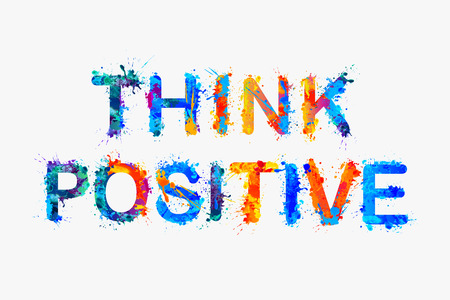 Illustrazione per Vector slogan: Think positive. Motivation inscription of splash paint letters. - Immagini Royalty Free
