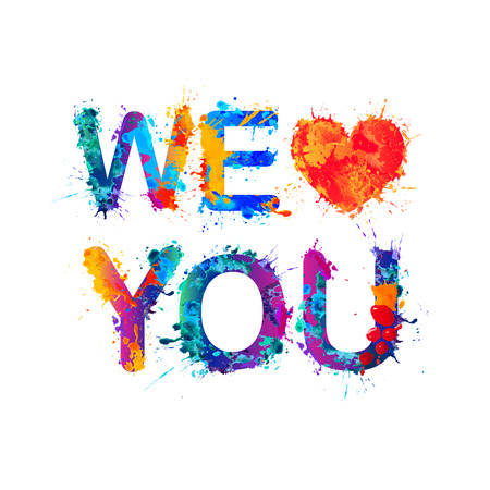Illustrazione per We love you. Watercolor vector splash paint - Immagini Royalty Free