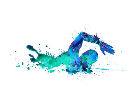 Ilustración de Swimming man. Vector watercolor blue splash paint - Imagen libre de derechos