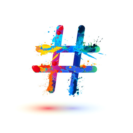 Illustration pour hashtag vector sign of watercolor splash paint - image libre de droit