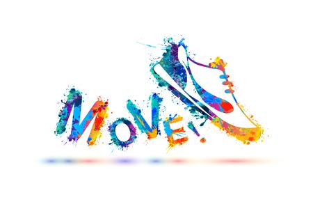 Illustration pour Move! Vector sign. Sport shoe - sneakers. Splash paint - image libre de droit