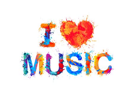 Illustration pour I love music Vector inscription of splash paint - image libre de droit