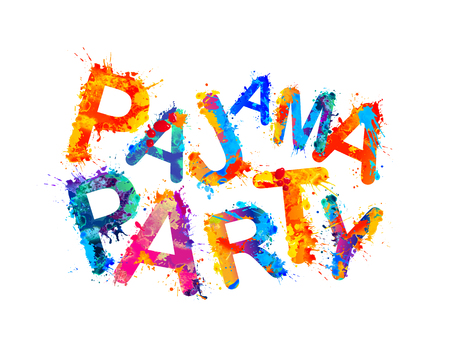Illustration for Pajama party inscription of splash paint letters - Royalty Free Image