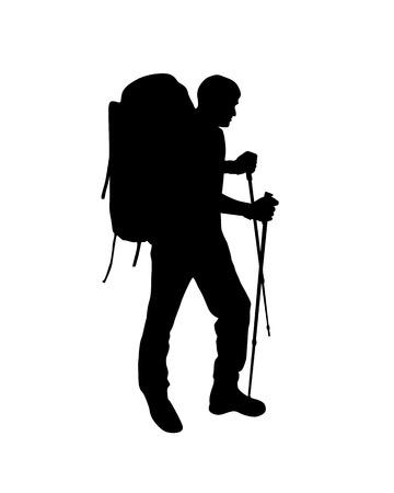 Illustration pour  Silhouette of trekking traveler. Vector climber man  - image libre de droit