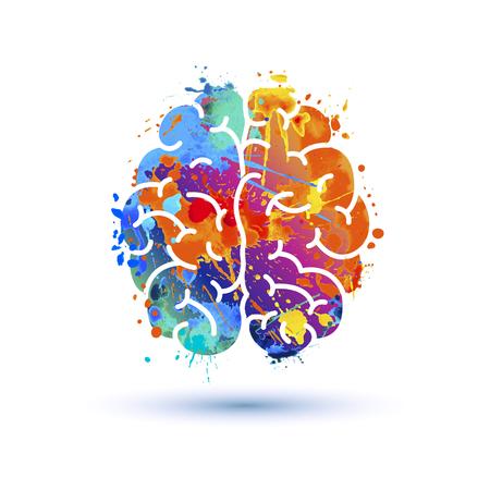 Illustrazione per Human brain icon of watercolor splash paint - Immagini Royalty Free