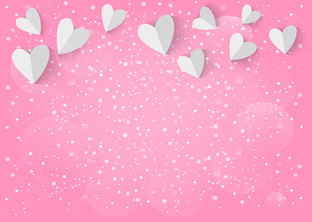 Illustration pour White paper 3d heart on pink background.  - image libre de droit
