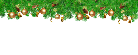 Foto de Christmas border for You website. Green Fir tree branches with serpentine, pine cones,  snowflakes and gold ball. Isolated on white. - Imagen libre de derechos