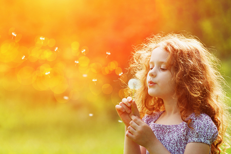 Foto de Beautiful child enjoy blowing dandelion in spring park. Little curly girl with spring flower in sunset light. - Imagen libre de derechos