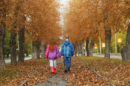 Little boy and girl holding hands and walking on the autumn road. Backside view.