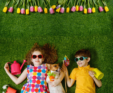 Photo pour Little girl and boy, and his dog lying on green grass. Spring, Easter background. Top view portrait. - image libre de droit