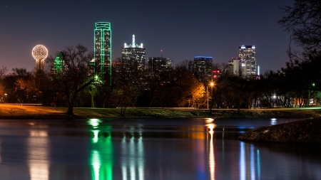 Dallas skyline reflected in  mural