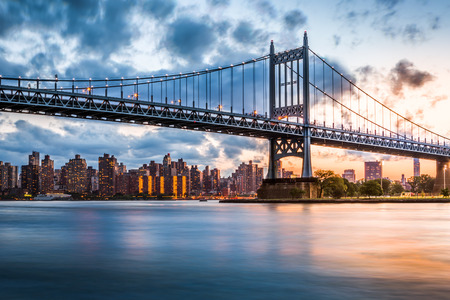 Robert F  Kennedy Bridge  aka Triboro Bridge  at sunset, in  Queens, New York