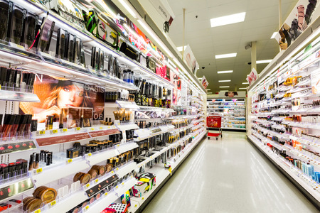 Foto de Shelves with cosmetics in a Target store. Target is the second-largest discount retailer in the United States. - Imagen libre de derechos