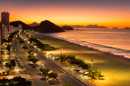 Photo for Copacabana Beach at dawn, in Rio de Janeiro, Brazil - Royalty Free Image