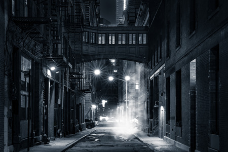 Photo pour Moody monochrome view of Staple street skybridge by night, in Tribeca, New York City - image libre de droit