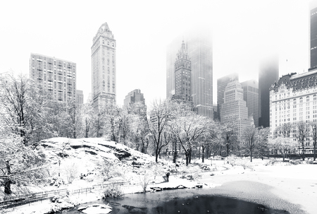 Foto de The Pond in Central Park on a foggy winter morning, as viewed from Gapstow Bridge. Low clouds cover Manhattan skyscrapers - Imagen libre de derechos
