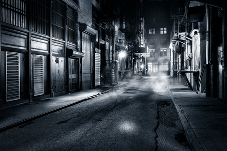 Photo pour Moody monochrome view of Cortlandt Alley by night, in Chinatown, New York City - image libre de droit