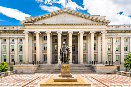 Photo for The Treasury Building in Washington D.C. This public building is a National Historic Landmark and the headquarters of the US Department of the Treasury - Royalty Free Image