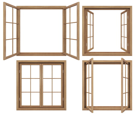 Foto de Collection of isolated wodden windows - Imagen libre de derechos