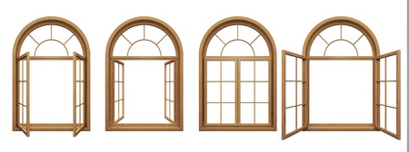 Photo pour Collection of isolated wooden arched windows - image libre de droit