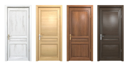 Photo pour Collection of different wooden doors isolated on white - image libre de droit