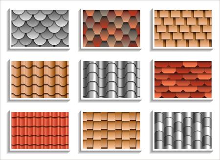 Illustration pour Set of seamless roof tiles textures. 3D patterns of rooftop materials - image libre de droit