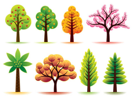 Collection of various modern trees. More illustrations in my portfolio.