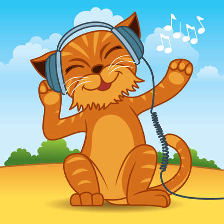 Illustration pour illustration of an orange fur cat wearing headphones and enjoying the music - More animals in my portfolio. - image libre de droit
