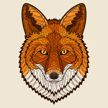 Ilustración de Fox head. Decorative isolated vector illustration. No gradients - Imagen libre de derechos