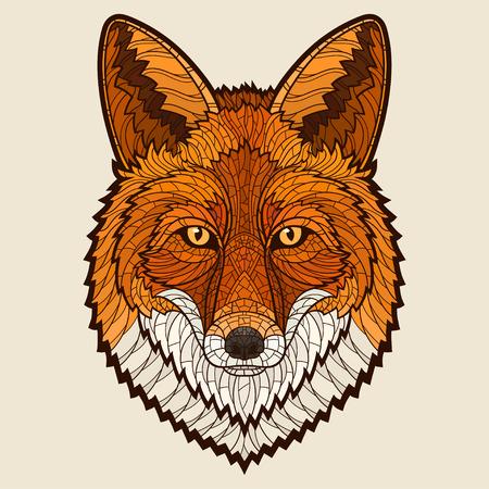 Illustrazione per Fox head. Decorative isolated vector illustration. No gradients - Immagini Royalty Free
