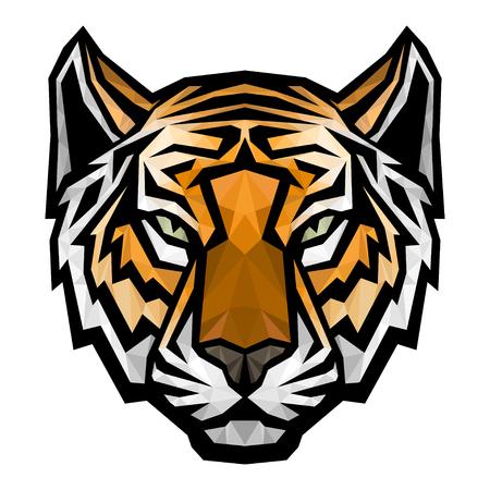 Illustration pour Tiger head logo mascot. Vector polygonal colored isolated illustration - image libre de droit