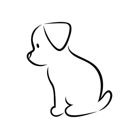 Illustration for Cute cartoon puppy silhouette on white background - Royalty Free Image