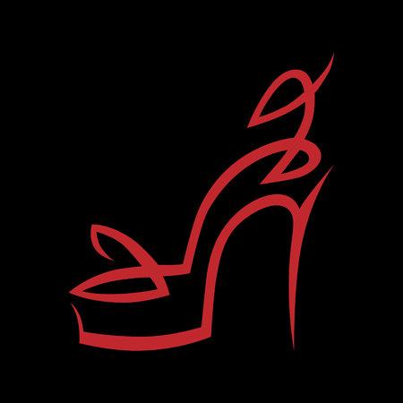 Illustration pour Abstract high heel shoe symbol, icon on black background. Design element Vector illustration. - image libre de droit