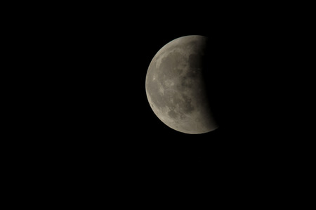 Partial Eclipse of the Moon in Black Night