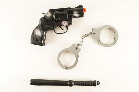 Photo pour Photo picture of Police pistol gun equipment toy - image libre de droit