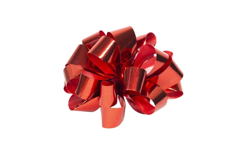 Gift red ribbon and bow isolated on white