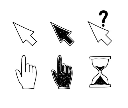 Illustration pour Hand drawn mouse cursors icons pointers arrow hourglass. Click, press and touch actions Vector Illustration - image libre de droit