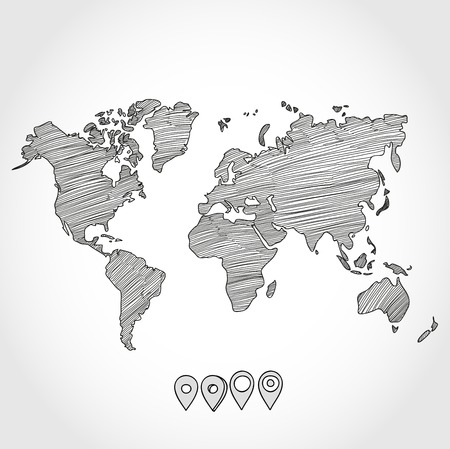 Illustration pour Hand drawn doodle sketch political world map and geo tag pin pointers marker vector illustration. - image libre de droit