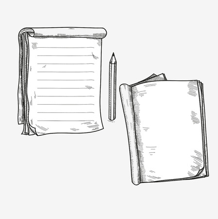 Illustration pour Hand drawn doodle sketch open notebook, clear page, template for notes memo notice comic book scrapbook sketchbook textbook. - image libre de droit