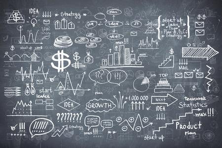 Photo pour Blackboard chalkboard texture infographics collection hand drawn doodle sketch business ecomomic finance elements. - image libre de droit