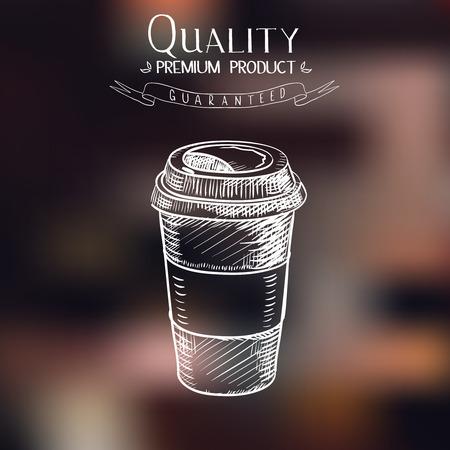 Ilustración de hand drawn doodle sketch vintage paper cup of coffee takeaway Menu for restaurant, cafe, bar, coffeehouse. - Imagen libre de derechos