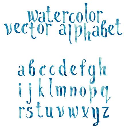 Ilustración de Colorful watercolor aquarelle font type handwritten hand drawn doodle abc alphabet letters vector. - Imagen libre de derechos
