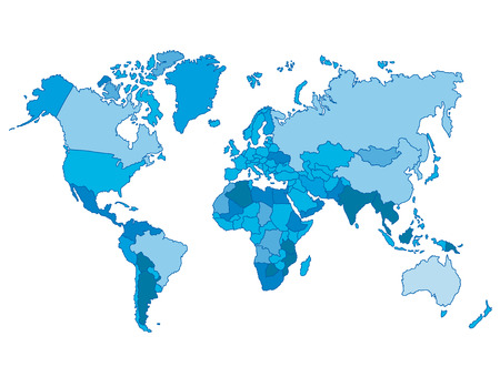 Foto de Political world blue map and vector illustration. - Imagen libre de derechos