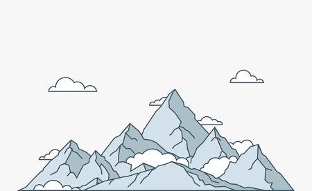 Illustration pour Nature and travel flat linear style mountain landscape - image libre de droit